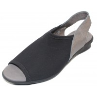 Arche Women's Dajac In Noir Stretchy/Iron Fast Metal Leather - Black/Steel