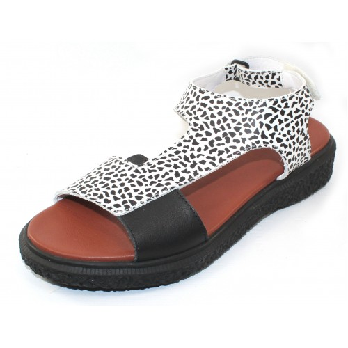 Arche Women's Janaka In Noir/Wenge Roy Embossed Animal Print Leather/Leather - Black