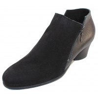 Arche Women's Mushka In Noir Nubuck/Rocky Grain Leather - Black