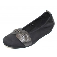 Arche Women's Ninika In Lauze Nubuck/Basalt Metallic Leather - Blue-Grey/Gunmetal