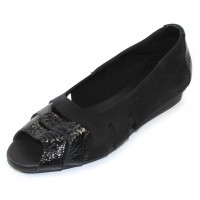 Arche Women's Ninova In Noir Vicki Crinkle Patent Leather/Nubuck - Black