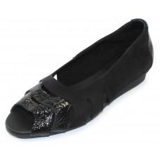 Arche Women's Ninova In Noir Vicki Crinkle Patent Leather/Nubuck - Black