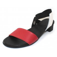 Arche Women's Obiaze In Feu/Blanc/Noir Rocky Grain Leather/Elastic - Red/White/Black