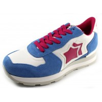 Atlantic Stars Women's Vega In Light Blue/Red/White Suede