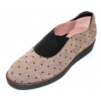 Beautifeel Women's Amber In Fall Taupe Suede/Blk Dots/Elastic