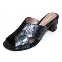 Beautifeel Women's Amore In Black Suede/Indigo Embossed Satin Leather