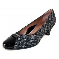 Beautifeel Women's April In Black Linen Printed Suede/Patent Leather
