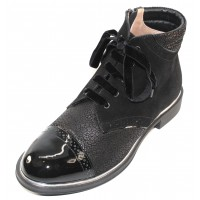 Beautifeel Women's Audrey In Black Leopard Printed Suede/Black Suede/Patent Leather