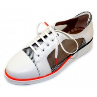 Beautifeel Women's Cadence In White Leather/Black Checker Printed Suede/Mesh