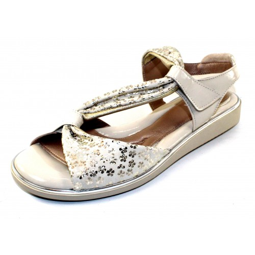 Beautifeel Women's Camille In Ivory/Gold Dais Embossed Suede/Ivory Patent Leather