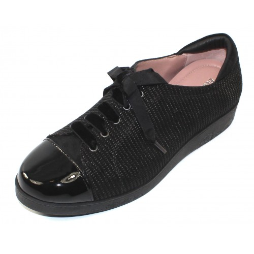 Beautifeel Women's Cella In Black Linear Print Leather/Patent Leather