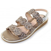 Beautifeel Women's Cleo In Biscotti Mosaic Embossed Suede/White Leather