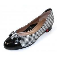 Beautifeel Women's Etta In Black Patent Leather/White Pied Embossed Suede