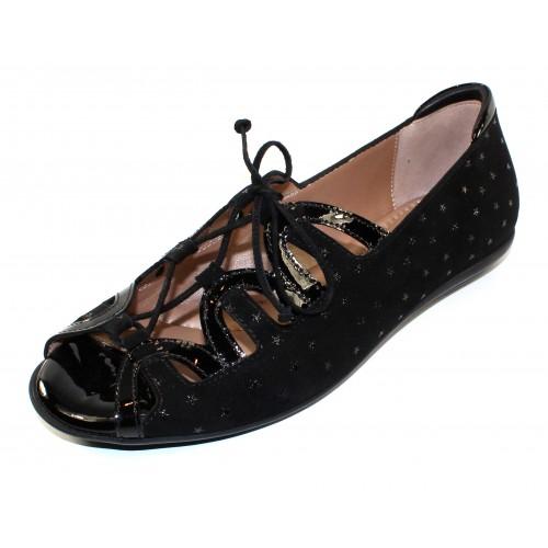 Beautifeel Women's Lea In Black 3D Stargaze Embossed Suede/Patent Leather