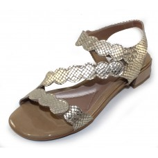 Beautifeel Women's Musa In Tahini Oro Embossed Satin Leather/Taupe Patent Leather