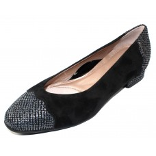 Beautifeel Women's Myla In Black Suede/Gray Tartan Embossed Leather
