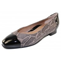 Beautifeel Women's Myla In Fall Taupe Reptile Printed Suede/Patent Leather