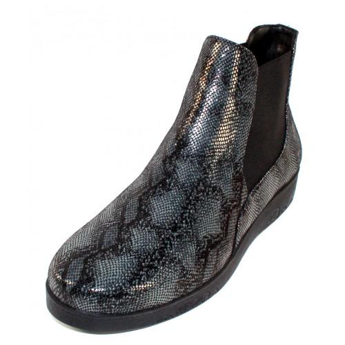 Beautifeel Women's Nella In Grey Black Regius Embossed Snake Printed Suede