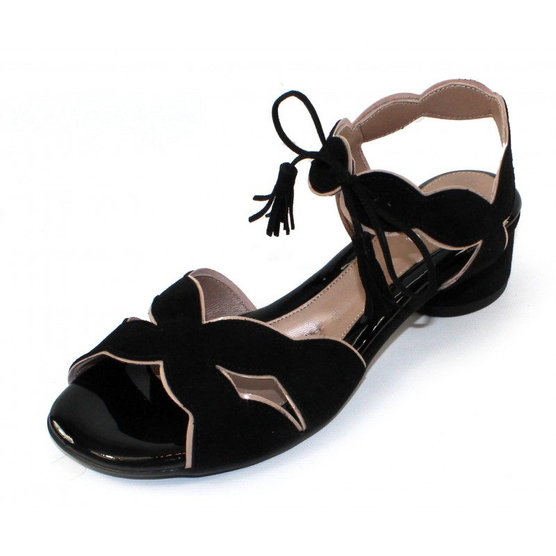 Rose In Black Suede/Blush Patent Leather