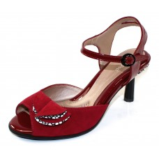 Beautifeel Women's Sam In Deep Red Suede/3D Pebbles Suede/Patent Leather