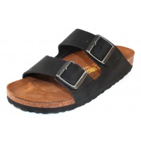 Birkenstock Men's Arizona In Black Oiled Leather - Narrow Width