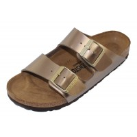 Birkenstock Women's Arizona In Electric Metal Taupe Birki-Flor - Narrow Width