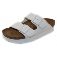 Birkenstock Women's Arizona Platform By Papillio In White Birki-Flor