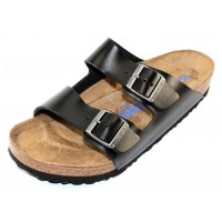 Birkenstock Men's Arizona Soft Footbed In Black Amalfi Leather - Regular Width