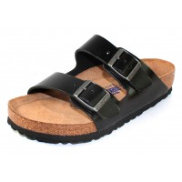 Birkenstock Men's Arizona Soft Footbed In Black Amalfi Leather - Narrow Width