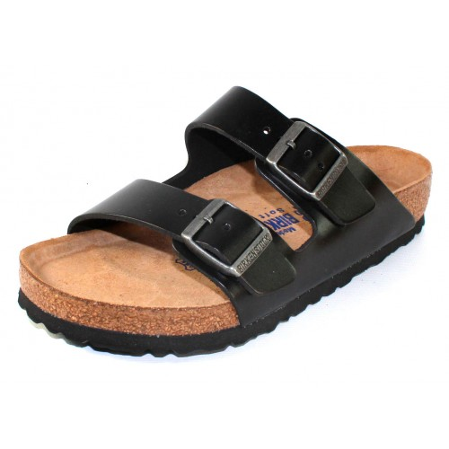 Birkenstock Men's Arizona Soft Footbed In Black Amalfi Leather