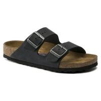 Birkenstock Men's Arizona Soft Footbed In Black Oiled Leather