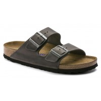 Birkenstock Men's Arizona Soft Footbed In Iron Oiled Distressed Leather - Regular Width