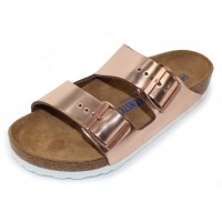Birkenstock Women's Arizona Soft Footbed In Metallic Copper Leather - Regular Width