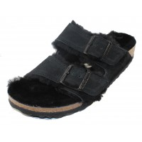 Birkenstock Women's Arizona Shearling In Black Shearling/Suede - Narrow Width
