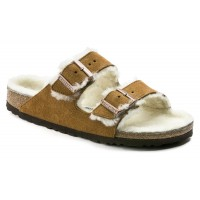 Birkenstock Women's Arizona Shearling - Regular Width In Mink Suede/Beige Shearling