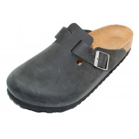 Birkenstock Men's Boston In Black Oiled