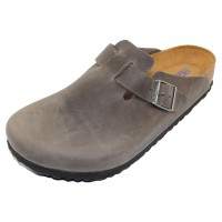 Birkenstock Men's Boston Soft Footbed In Iron Oiled Leather