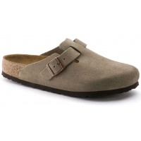 Birkenstock Men's Boston Soft Footbed In Taupe Suede