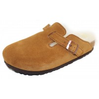 Birkenstock Men's Boston Shearling In Mink Suede/Beige Shearling