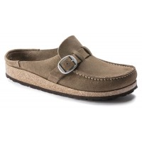 Birkenstock Women's Buckley In Gray Taupe Suede
