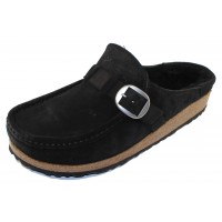 Birkenstock Women's Buckley Shearling In Black Suede/Shearling