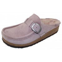 Birkenstock Women's Buckley Shearling In Lavender Suede/Blush Shearling