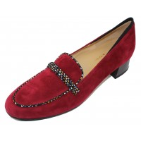 Brunate Women's Aurora In Wine Suede/Multi Colored Braid Piping