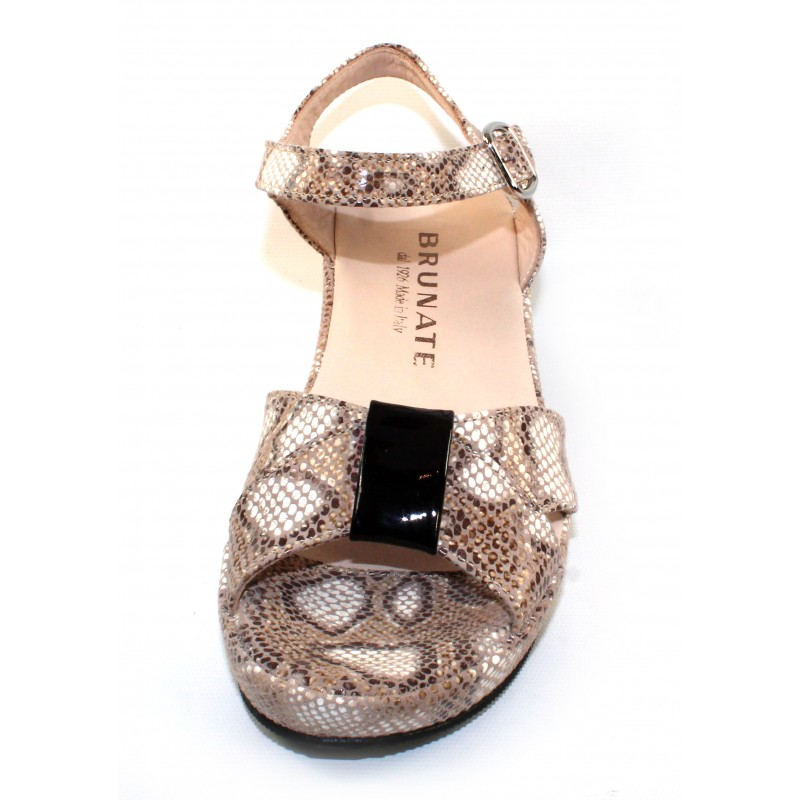 84b19561aab3 Brunate Women s Buddy 553 In Nut Brown Beige Snake Printed Leather Black  Patent Leather