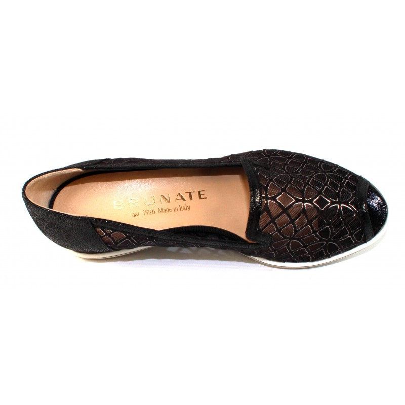 149a1db79a26 Brunate Women s Daisy 11317 In Black Mesh Embossed Pearlized Suede
