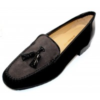 Brunate Women's Luna In Black/Grey Suede/Black Patent Leather
