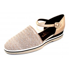 Brunate Women's Murphy 11299 In Beige/Metallic Shimmer Stretch Mesh Fabric/Light Gold Embossed Shimmer Leather