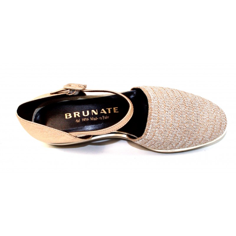 84fd02dd24ce Brunate Women s Murphy 11299 In Beige Metallic Shimmer Stretch Mesh  Fabric Light Gold Embossed Shimmer Leather
