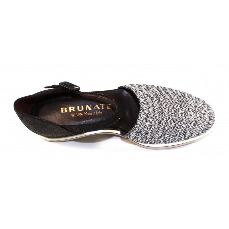 6cd6aa8e9b54 Brunate Women s Murphy 11299 In Black Metallic Shimmer Stretch Mesh Fabric Black  Embossed Shimmer Leather