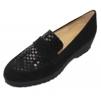 Brunate Women's Selene In Black Suede/Jazz Petroleum Embossed Suede
